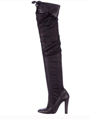 Stella McCartney high heel thigh high boots lace up black for Sale in Portland, OR