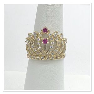 10k Gold Crown Ring with Red Stones for Sale in Arlington, TX