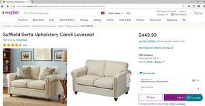 Cream/Ivory Loveseat with Serta Upholstery for Sale in Manassas Park, VA