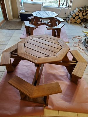 Wooded octagon table treated wood for Sale in Hastings, MI