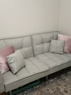 "beautiful! Futon couch/ bed , New pillows included , 77""inches , excellent condition for Sale in Upland,  CA"