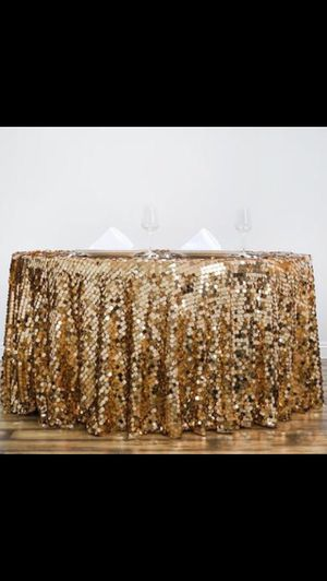1 Golden round table cover, Backdrop stand, White Tulle 30ft, Palm stones, Cake/Card holders etc. for Sale in Herndon, VA