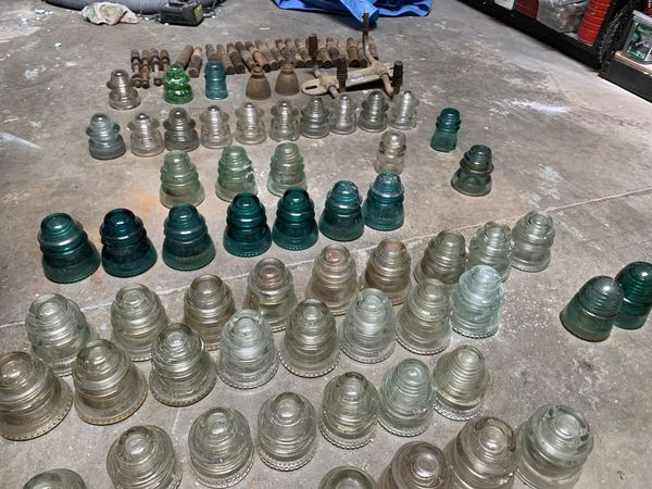 Lot of Antique Glass Insulators and Wood Pegs