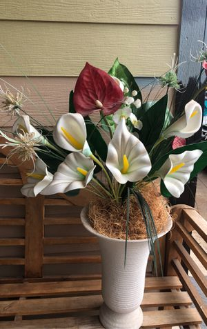 Artificial flowers with white vase for Sale in Vancouver, WA