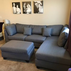Brand New Grey Linen Sectional Sofa Couch + Ottoman for Sale in Washington, DC