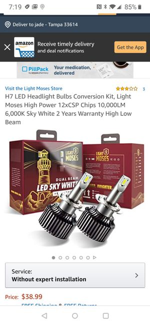 H7 LED Headlight Bulbs Conversion Kit, Light Moses High Power 12xCSP Chips 10,000LM 6,000K Sky White 2 Years Warranty High Low Beam for Sale in Tampa, FL