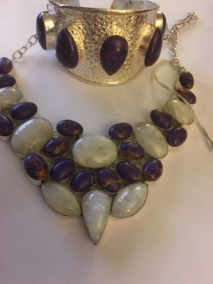 Necklace and bracelet set 925 silver copper Purple turquoise necklace also has moonstone 100.00 Cash pick up only for Sale in Mansfield, TX
