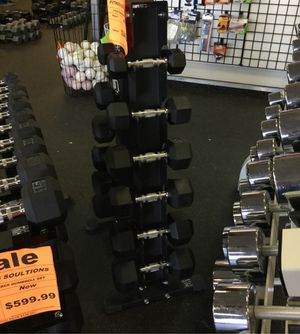 New Dumbbell Set with rack pair of 5 10 15 20 25 & 30 Lb for Sale in Phoenix, AZ