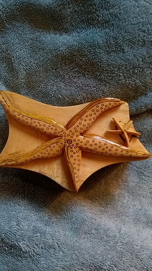 Momma and baby star fish hand carved puzzle hideaway trinket boxes for Sale in Hermon, ME