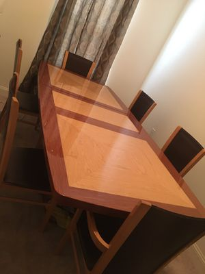 Custom made Luxury Dining Table with 6 chairs plus removable protective table top for Sale in Willingboro, NJ