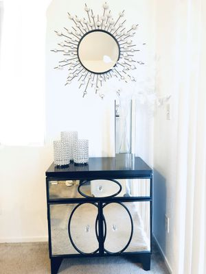 Z-GALLERIE Mirrored nightstand storage w/ crystal knobs for Sale in Las Vegas, NV