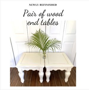 Newly refinished rustic distressed off white farmhouse style pair of wood end tables for Sale in Boca Raton, FL
