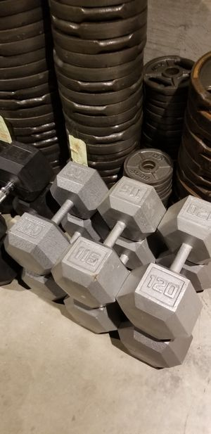 HEAVY HEX DUMBBELLS 100s 115s 120s DUMBBELL WEIGHTS for Sale in Queens, NY