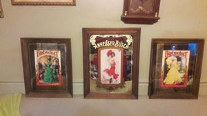 3 antique Anheuser-Busch Budweiser bar mirrors for Sale in Columbus, OH