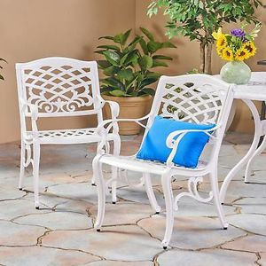 New White Aluminum Arm Chair (Set of 2) Perfect Home Garden Patio Backyard Furniture for Sale in Los Angeles, CA