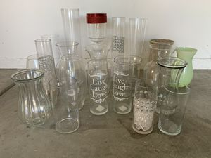 20+ Different Kinds of Flower Vases Glass and Ceramic Mason Jar, Cylinder, Bouquet, Bottle Shape for Weddings or any Celebrations for Sale in City of Industry, CA