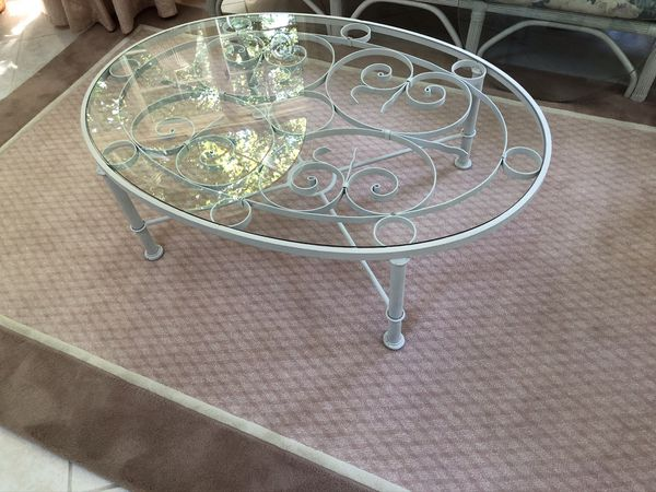 Ethan Allen Wrought Iron and Glass Coffee Table