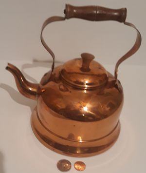 "Vintage Copper Metal Tea Pot, Tea Kettle, Teapot, 9"" x 7"", Made in Portugal, Cooking, Kitchen Decor, Table Display, Shelf Display, This Can Be Shined for Sale in Lakeside, CA"