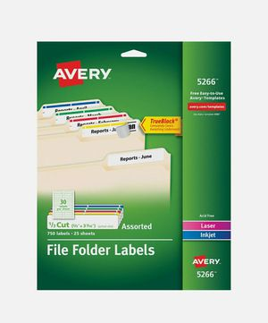 "Avery Laser/Inkjet File Folder Labels, 2/3"" x 3 7/16"", Assorted Colors, 30 Labels/Sheet, 25 Sheets/Pack (5266) for Sale in Hamburg, NY"
