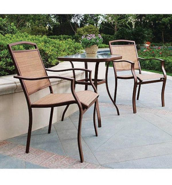 NEW (3 Piece) Contemporary Outdoor Bistro Set - Patio Home Sling Chairs & Tempered Top Glass Table - Seat Garden Pool Poolside Furniture - ↓READ↓
