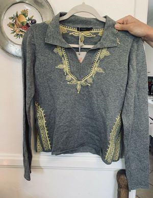 Thml Xs Grey Long-sleeved Top With Yellow Embroidery for Sale in Los Angeles, CA