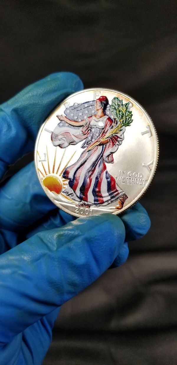 2001 painted American Silver Eagle $1 Coin