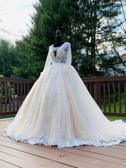 Brand New Custom Made Wedding Dress Princess A-line Embroidered Long Sleeve Long Train Lace v Neck Ball Gown Princess Dress Sequins Rhinestones for Sale in Gaithersburg,  MD