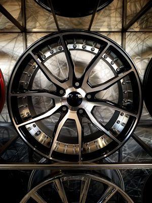 5x114 wheels 17x8.5 et35 concave stance style wheels black machine with rivets rims for Sale in Tempe, AZ