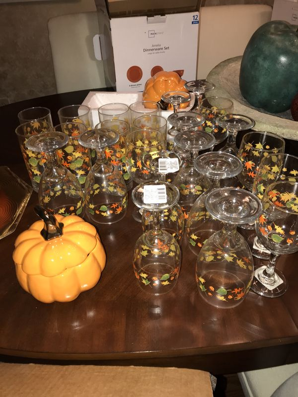 Fall Wine and water glasses and pumpkins