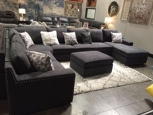 Fabric Sectional Sofa with Ottoman, Dark Grey for Sale in Bell Gardens, CA