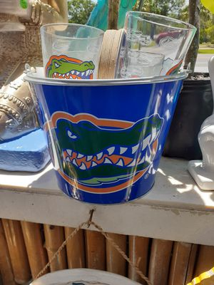 Collectible Florida Gator metal ice bucket four glasses and coasters sold as a set for Sale in Dunedin, FL