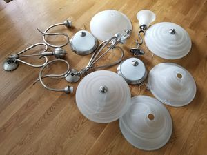 Variety brushed nickel and white glass light fixtured for Sale in Burlington, MA