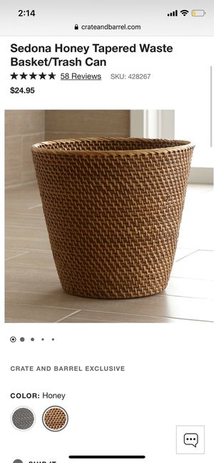 NWT Crate and Barrel Sedona Honey Tapered Waste Basket/Trash Can for Sale in Garden Grove, CA