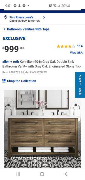 Kennilton 60-in Gray Oak Double Sink for Sale in Montclair, CA