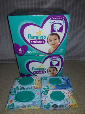 Pampers Cruisers Diapers Size 4 Bundle: 140 Diapers & 288 Pampers Baby Wipes (Selling altogether only) for Sale in Garland, TX