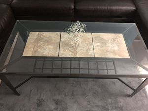 Glass and stone coffee table for Sale in Tamarac, FL