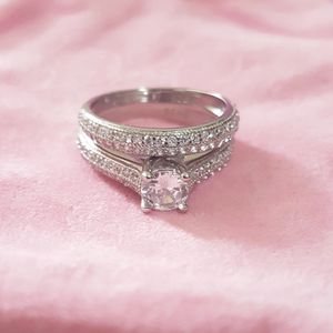 Stamped 925 Sterling Silver Engagement/ Wedding Ring Set- Code NW369 for Sale in Boston, MA