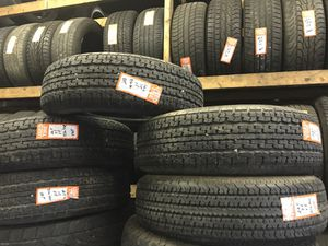(4) heavy duty trailer tires size 225-75-15 mounted and balance $45.00 each for Sale in Belleville, IL