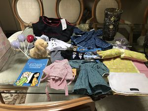 AMERICAN girl doll accessories, stroller, carry bag, books and clothes for Sale in Rockville, MD