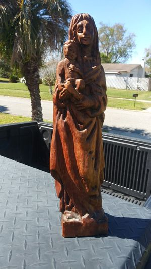 """Vintage Madonna and Child Wood Carving 17"""" Tall for Sale in Orlando, FL"""
