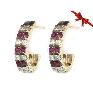 14K Yellow Gold Channel Set Diamond & Ruby Earrings for Sale in Buena Park, CA
