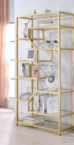 New!! Organizer, bookcase, metal gold and glass 10 fixed shelves bookcase, bookshelves, shelving display, storage unit, gold and glass for Sale in Phoenix, AZ