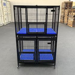 """New in box $330 Stacking Dog Cage (Set of 2) Heavy Duty 41x31x65"""" Crate Kennel w/ Plastic Tray, Wheels for Sale in Whittier,  CA"""
