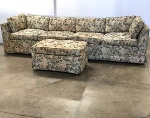 9 Ft Couch with Matching Footstool (Floral Design) for Sale in Chula Vista, CA