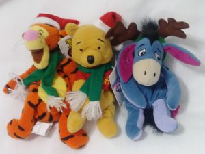 Pooh Tigger Eeyore Christmas Bean Bag Plush Doll Disney Xmas Holiday for Sale in Homestead, FL