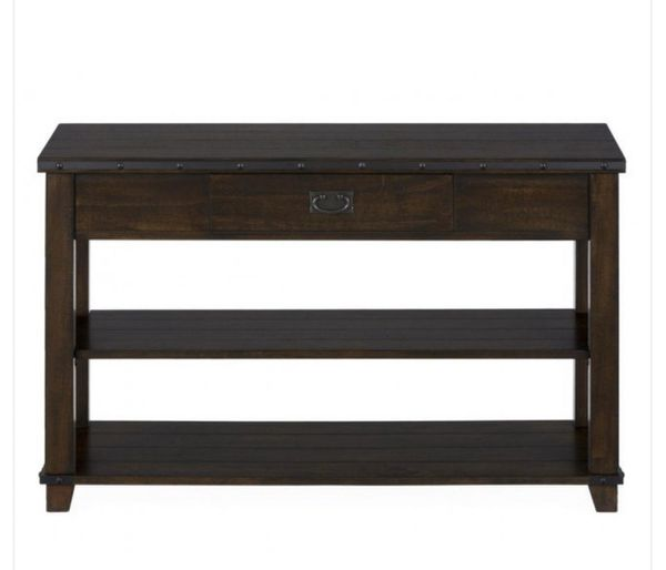 Jofran Cassidy Plank Top End Table Top Sofa Table with Drawer