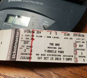 The Who - Movin' On! - Live in Concert 10/19 - Club Level Tickets Sec. 224 Row 3 for Sale in Seattle, WA