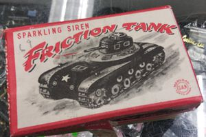 1950's NOS MARUSAN Sparkling Siren Friction Tank Tin Toy RARE Japan for Sale in Montclair, CA