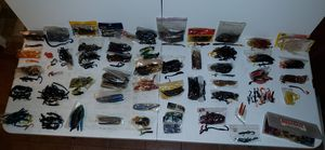 FISHING LURE LOT CRANK BAIT FISHER WORMS FISHING BATES HOOKS TACKLE MEGABAIT for Sale in DeSoto, TX