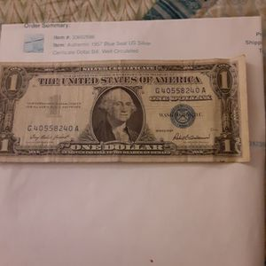 1957 Blue Seal US Silver Certificate Dollar Bill for Sale in District Heights, MD
